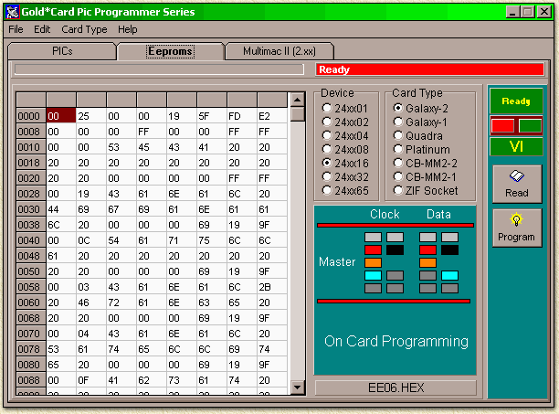 Gold*Card - Programming the EEPROM