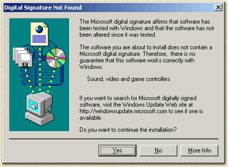 WinXp and Win2000: driver not signed ...