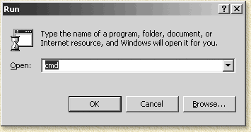 Start een DOS box in Windows 2000 dmv CMD